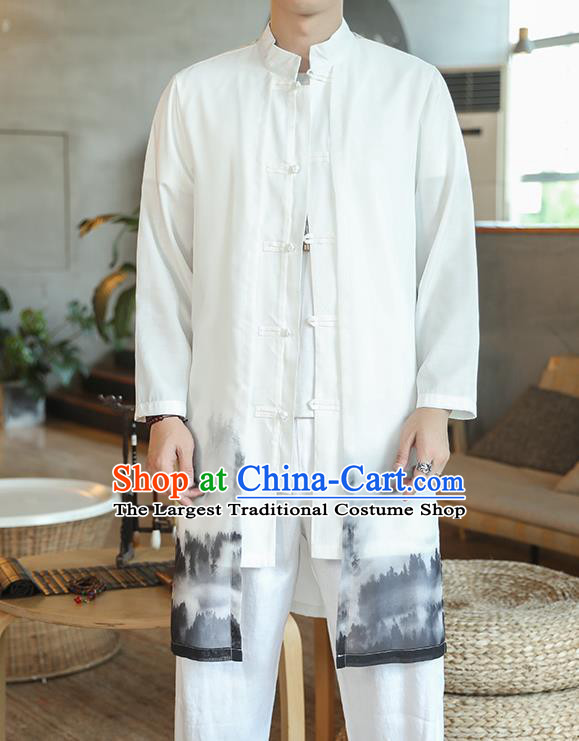 Chinese Traditional Ink Painting Chiffon Dust Coat Tang Suit Overcoat Costumes Outer Garment for Men