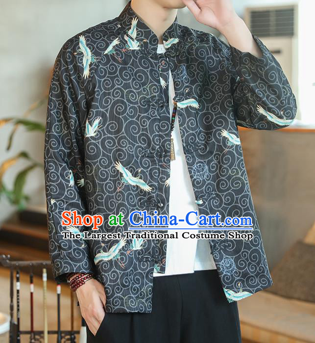 Chinese Traditional Printing Cranes Black Flax Jacket Tang Suit Overcoat Outer Garment Costumes for Men