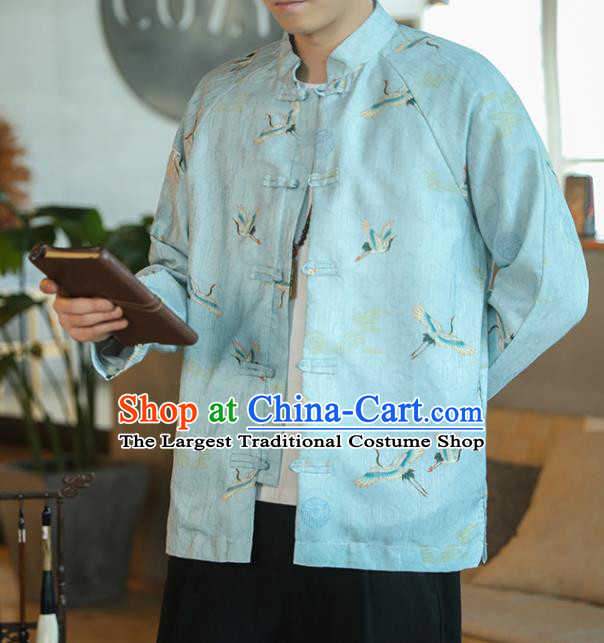Chinese Traditional Printing Cranes Blue Flax Jacket Tang Suit Overcoat Outer Garment Costumes for Men