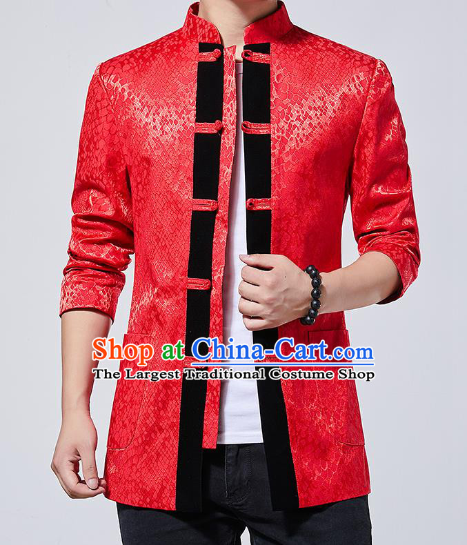 Chinese Traditional Sun Yat Sen Red Jacket Tang Suit Overcoat Outer Garment Costumes for Men