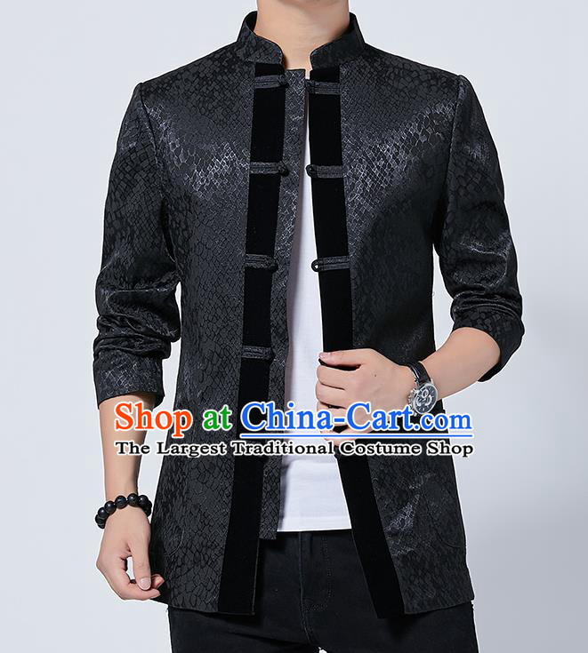 Chinese Traditional Sun Yat Sen Black Jacket Tang Suit Overcoat Outer Garment Costumes for Men