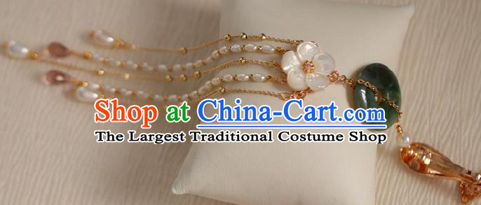 Chinese Classical Jade Ring Brooch Traditional Hanfu Accessories Handmade Cheongsam Pearls Tassel Breastpin Pendant for Women