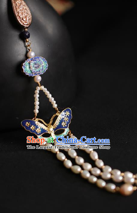 Chinese Classical Pearls Tassel Brooch Traditional Hanfu Accessories Handmade Cheongsam Blueing Butterfly Breastpin Pendant for Women