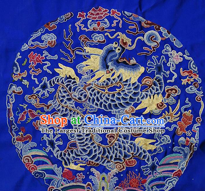 Chinese Traditional Embroidered Dragon Fabric Patches Handmade Embroidery Craft Embroidering Royalblue Silk Decorative Picture
