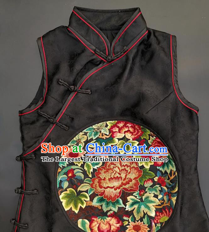 Chinese Traditional Embroidered Peony Black Silk Vest Handmade Embroidery Costume Tang Suit Waistcoat for Adult