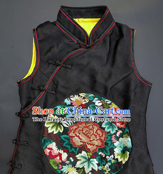 Chinese Traditional Embroidered Peony Vest Handmade Embroidery Costume Tang Suit Black Silk Waistcoat for Adult