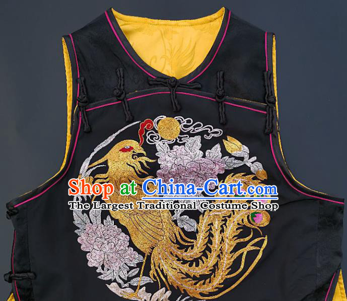 Chinese Traditional Embroidered Phoenix Peony Vest Handmade Embroidery Costume Tang Suit Black Silk Waistcoat for Adult