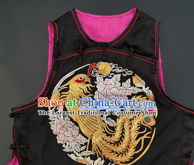 Chinese Traditional Embroidered Phoenix Peony Vest Handmade Embroidery Costume Tang Suit Black Silk Waistcoat for Women