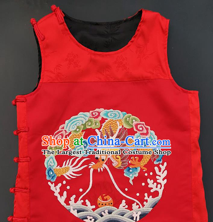 Chinese Traditional Embroidered Dragon Vest Handmade Embroidery Costume Tang Suit Red Silk Waistcoat for Men