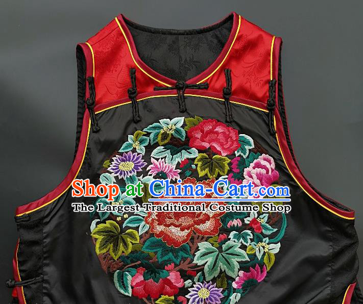 Chinese Traditional Embroidered Peony Vest Handmade Embroidery Costume Tang Suit Silk Waistcoat for Women