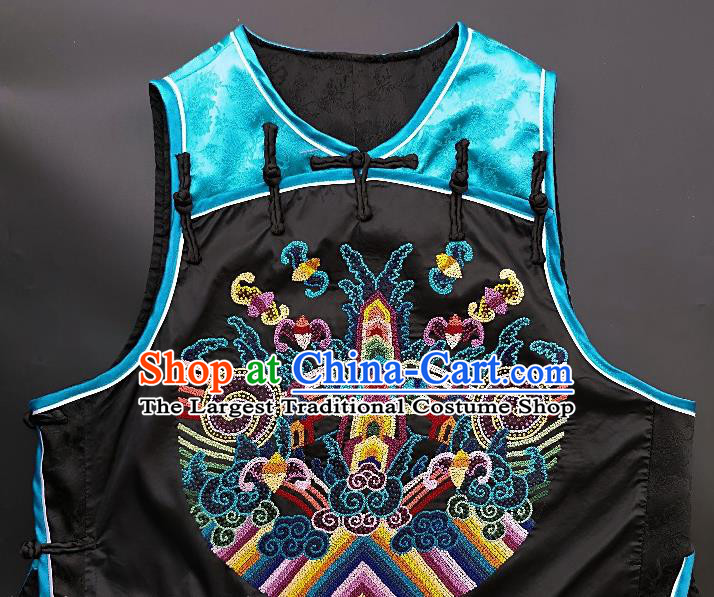 Chinese Traditional Embroidered Bats Vest Handmade Embroidery Costume Tang Suit Blue Silk Waistcoat for Women