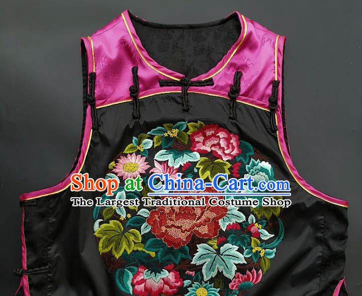 Chinese Traditional Embroidered Chrysanthemum Peony Vest Handmade Embroidery Costume Tang Suit Rosy Silk Waistcoat for Women