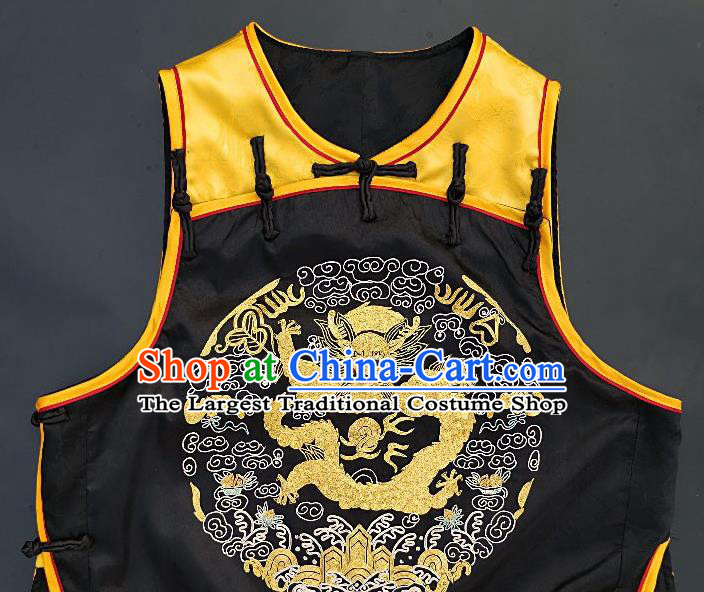 Chinese Traditional Embroidered Dragon Vest Handmade Embroidery Costume Tang Suit Yellow Silk Waistcoat for Women
