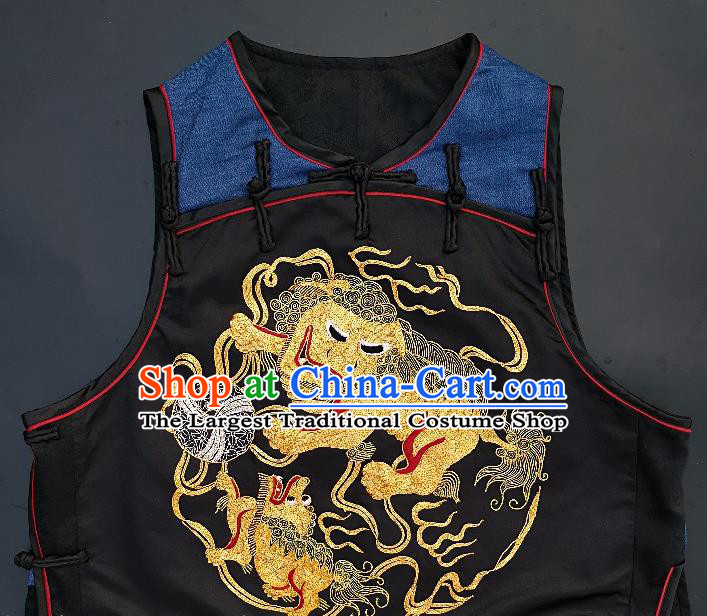 Chinese Traditional Embroidered Lion Vest Handmade Embroidery Costume Tang Suit Navy Silk Waistcoat for Women