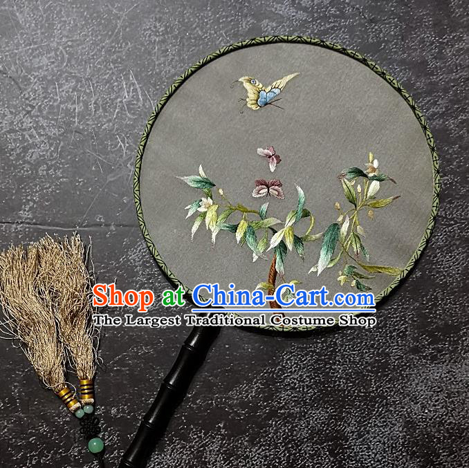 Chinese Traditional Silk Palace Fans Handmade Embroidered Round Fan Embroidery Flower Bird Craft