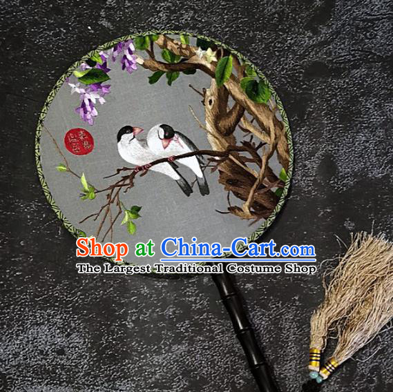 Chinese Traditional Embroidery Wisteria Birds Silk Palace Fans Handmade Embroidered Round Fan Craft