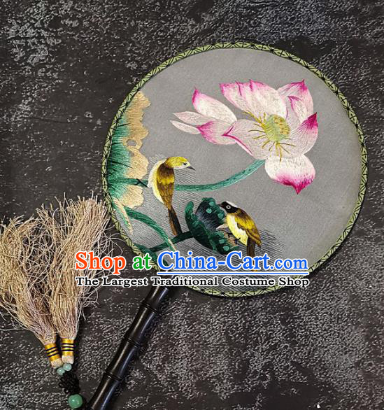 Chinese Traditional Embroidery Lotus Palace Fans Handmade Embroidered Round Fan Silk Craft