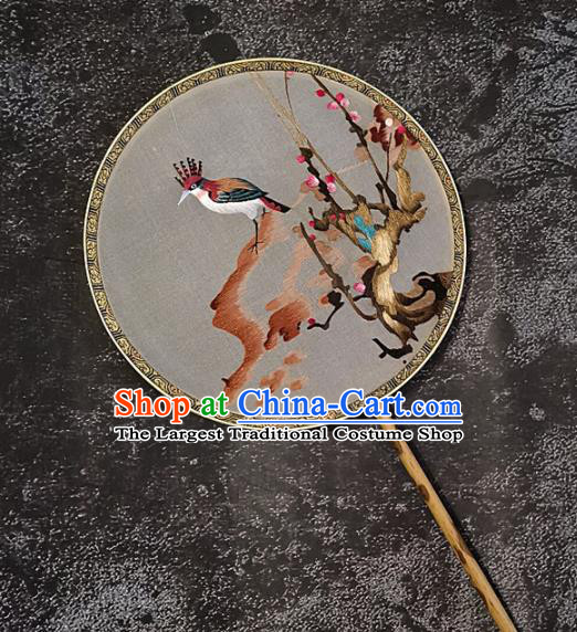 Chinese Traditional Embroidery Flower Bird Palace Fans Handmade Embroidered Mottled Bamboo Round Fan Silk Craft