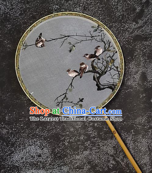 Chinese Traditional Embroidery Birds Palace Fans Handmade Embroidered Mottled Bamboo Round Fan Silk Craft