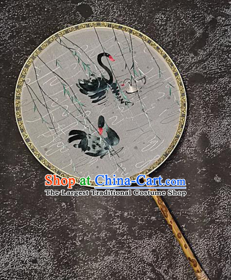 Chinese Traditional Embroidery Swan Palace Fans Handmade Mottled Bamboo Round Fan Embroidered Silk Craft