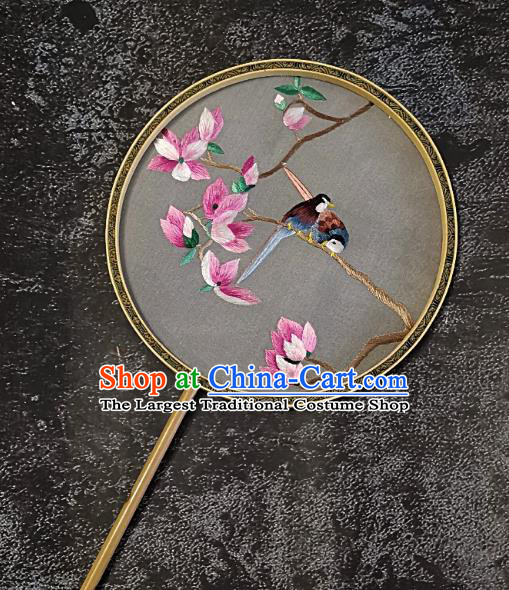 Chinese Traditional Embroidery Mangnolia Birds Palace Fans Handmade Mottled Bamboo Round Fan Embroidered Silk Fan Craft