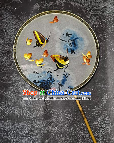Chinese Traditional Embroidery Butterfly Palace Fans Handmade Mottled Bamboo Round Fan Embroidered Silk Fan Craft