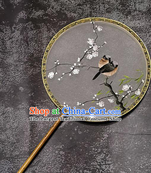 Chinese Traditional Embroidery Grackles Palace Fans Handmade Mottled Bamboo Round Fan Embroidered Plum Silk Fan Craft