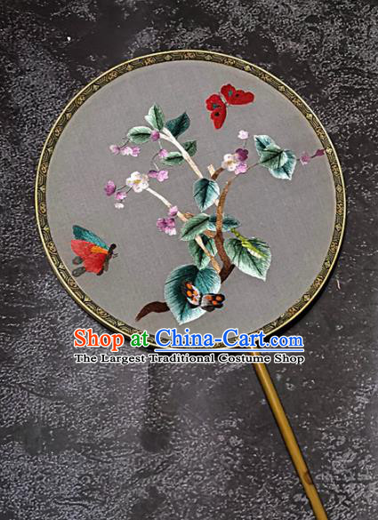 Chinese Traditional Embroidery Flowers Palace Fans Handmade Mottled Bamboo Round Fan Embroidered Butterfly Silk Fan Craft