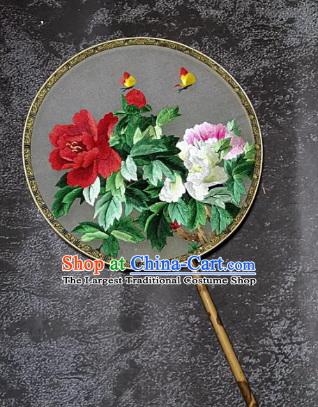 Chinese Traditional Embroidery Peony Palace Fans Handmade Mottled Bamboo Round Fan Embroidered Butterfly Silk Fan Craft