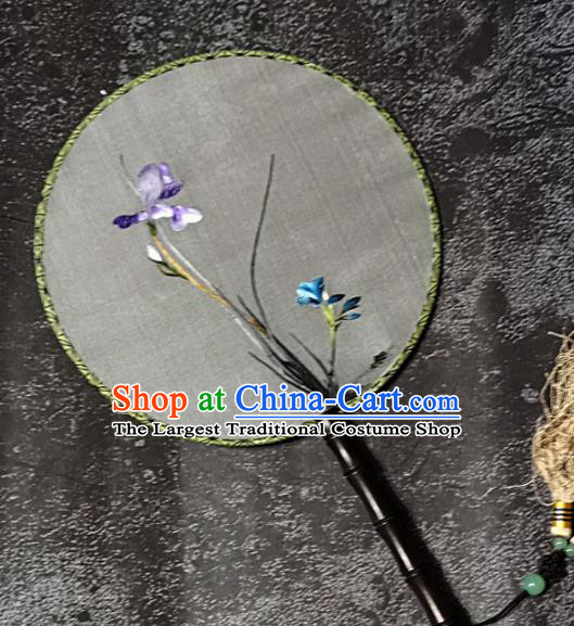 Chinese Traditional Embroidery Orchid Palace Fans Handmade Round Fan Embroidered Silk Fan Craft