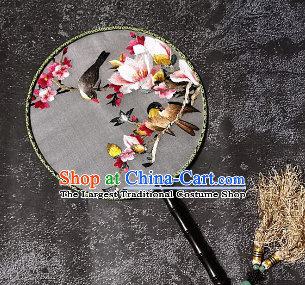 Chinese Traditional Embroidery Yulan Magnolia Palace Fans Handmade Round Fan Embroidered Birds Silk Fan Craft