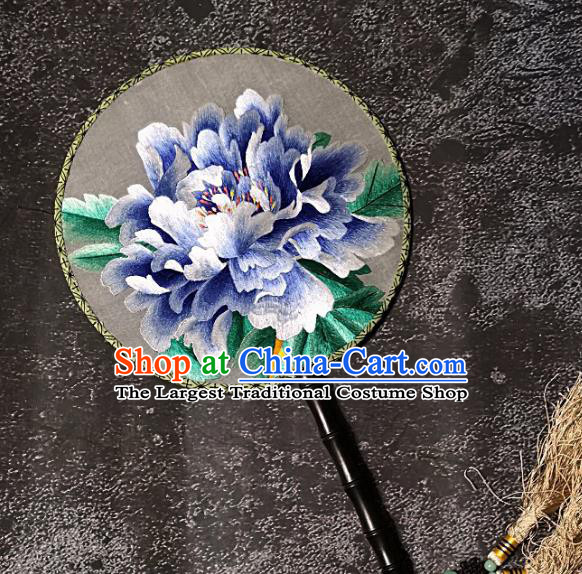 Chinese Traditional Embroidery Blue Peony Palace Fans Handmade Round Fan Embroidered Silk Fan Craft