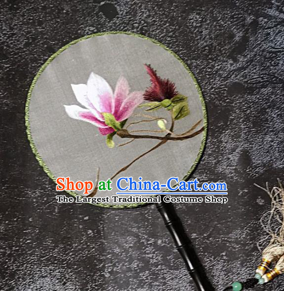 Chinese Traditional Embroidery Yulan Magnolia Palace Fans Handmade Round Fan Embroidered Silk Fan Craft