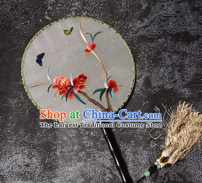 Chinese Traditional Embroidery Red Flower Palace Fans Handmade Round Fan Embroidered Silk Fan Craft