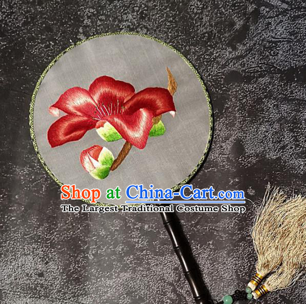 Chinese Traditional Embroidery Palace Fans Handmade Round Fan Embroidered Red Flower Silk Fan Craft
