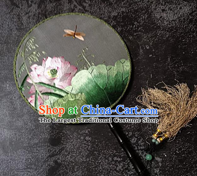 Chinese Traditional Palace Fans Handmade Embroidery Round Fan Embroidered Dragonfly Lotus Silk Fan Craft