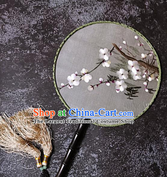 Chinese Traditional Palace Fans Handmade Embroidery Round Fan Embroidered Plum Blossom Silk Fan Craft