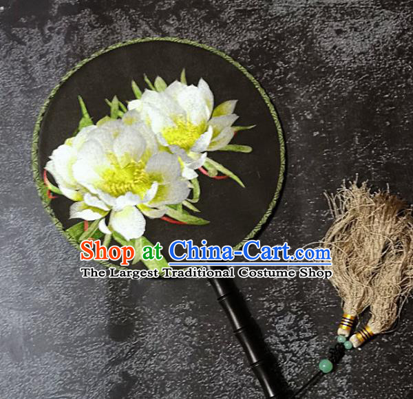 Chinese Traditional Palace Fans Handmade Embroidery Round Fan Embroidered Peony Silk Fan Craft