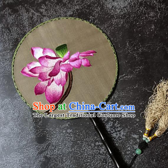 Chinese Traditional Palace Fans Handmade Embroidery Round Fan Embroidered Lotus Silk Fan Craft