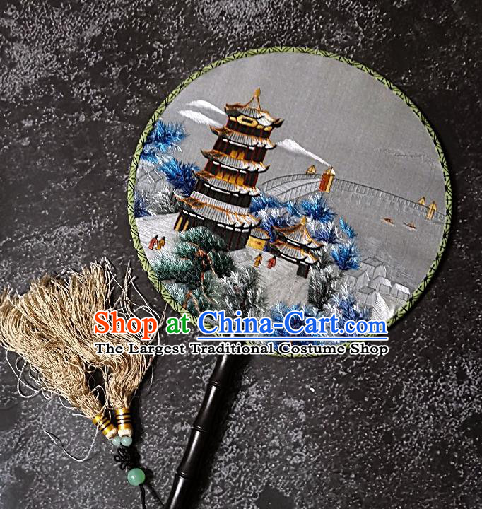 Chinese Traditional Palace Fans Handmade Embroidery Round Fan Double Sizes Embroidered Silk Fan Craft