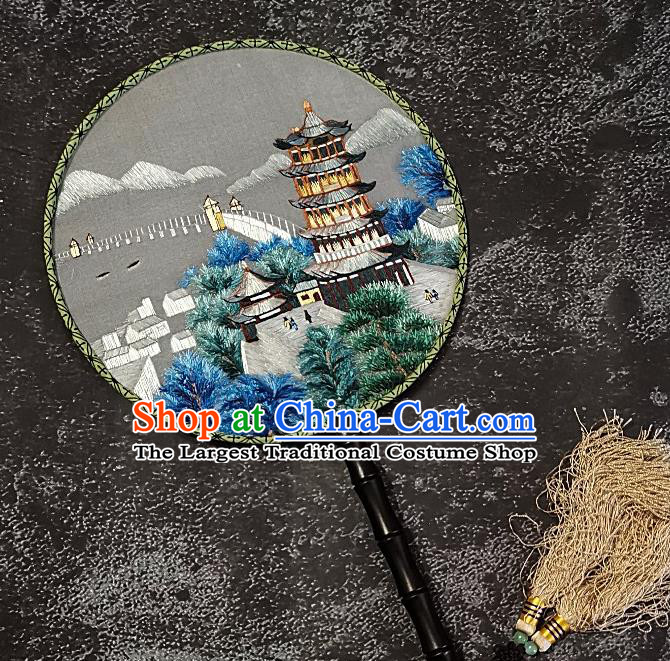 Chinese Traditional Double Sizes Embroidered Palace Fans Handmade Embroidery Leifeng Pagoda Round Fan Silk Fan Craft
