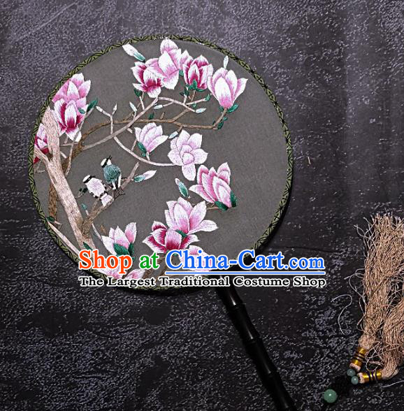 Chinese Traditional Embroidered Palace Fans Handmade Embroidery Pink Magnolia Round Fan Silk Fan Craft