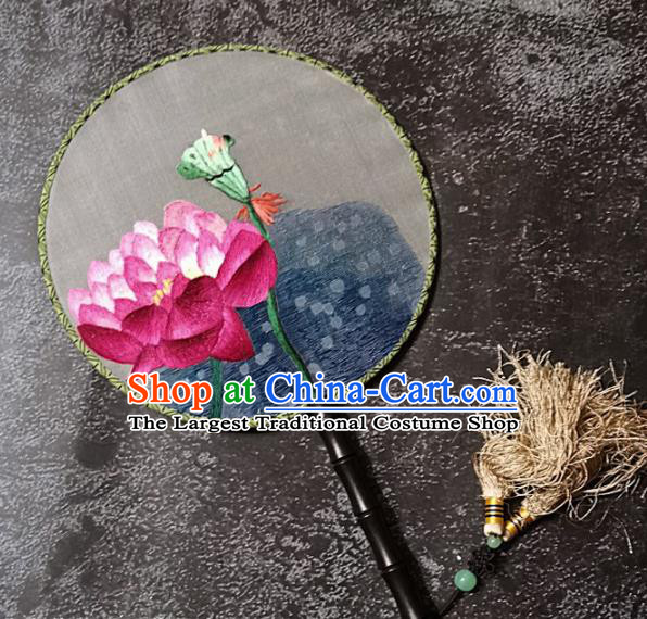 Chinese Traditional Embroidered Palace Fans Handmade Embroidery Lotus Round Fan Silk Fan Craft