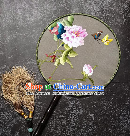 Chinese Traditional Embroidered Palace Fans Handmade Embroidery Peony Round Fan Silk Fan Craft