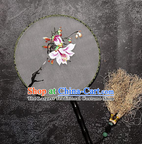 Chinese Traditional Embroidered Palace Fans Handmade Embroidery Yulan Magnolia Round Fan Silk Fan Craft