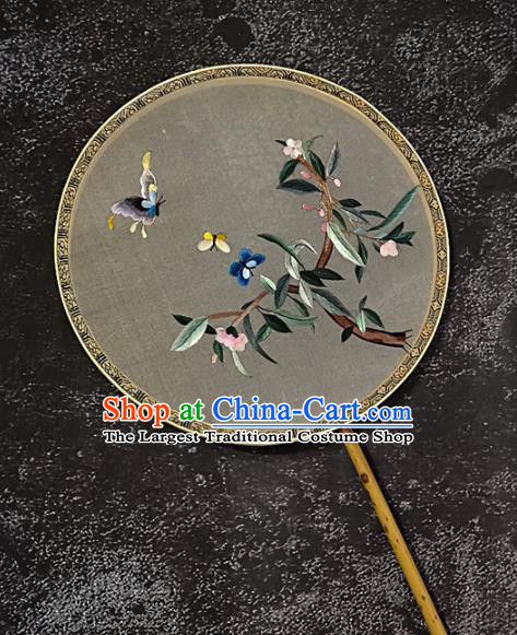 Chinese Traditional Silk Palace Fans Handmade Embroidered Butterfly Flower Round Fan Embroidery Craft