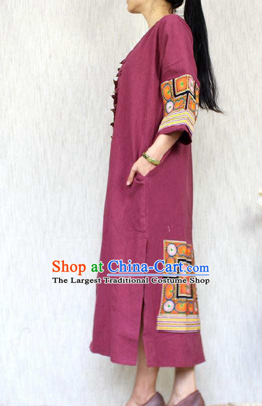 Traditional Chinese Embroidered Wine Red Flax Dust Coat National Costume Tang Suit Overcoat for Women