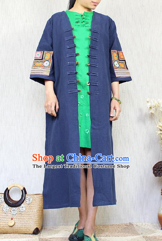 Traditional Chinese Embroidered Navy Flax Dust Coat National Costume Tang Suit Overcoat for Women