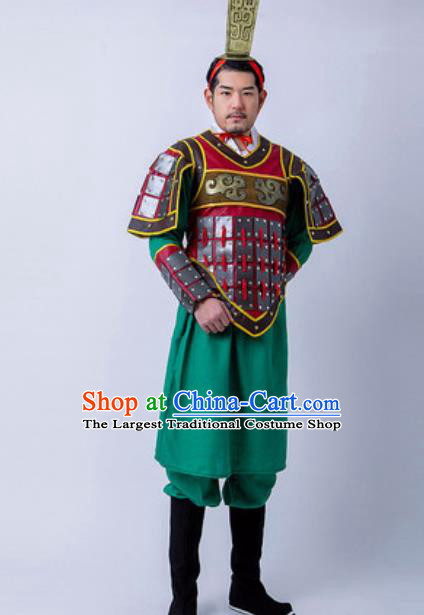 Chinese Traditional Qin Dynasty Warrior Armor Costume Drama Ancient General Soldier Clothing and Helmet for Men