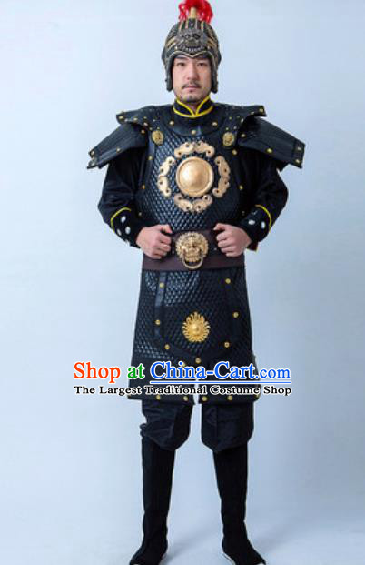 Chinese Traditional Three Kingdoms Period Warrior Armor Costume Drama Ancient General Clothing and Helmet for Men
